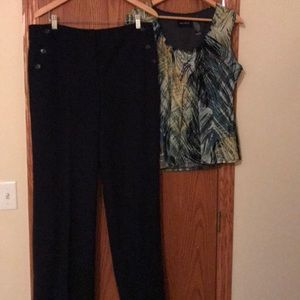 Ann Taylor Navy trousers 12 and Axcess blouse